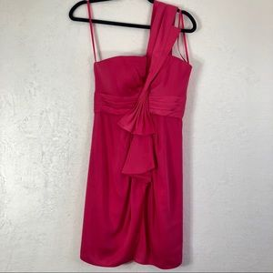 BCBGMAXAZRIA Pink One Shoulder Dress